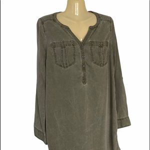 Express Olive Green Military Style Tunic Top V Neck Long Sleeve Small